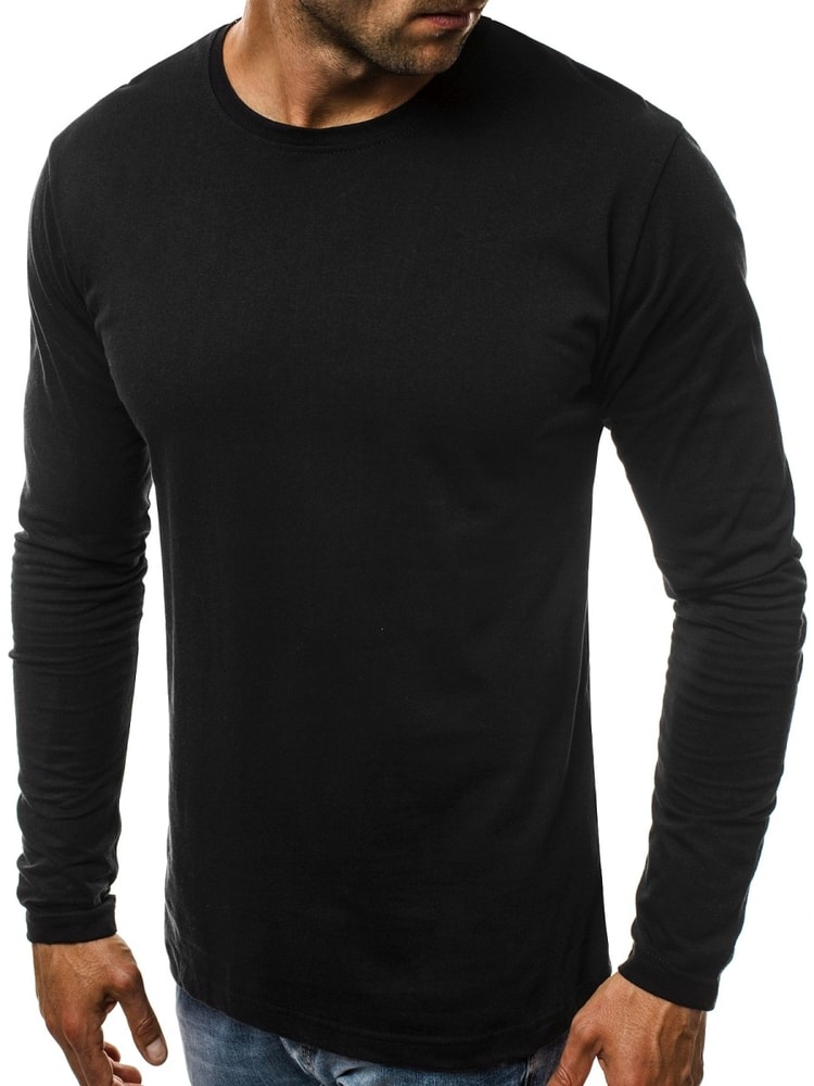 ecd4bda42398 Jednoduché čierne tričko s dlhým rukávom O 1209 - Budchlap.sk