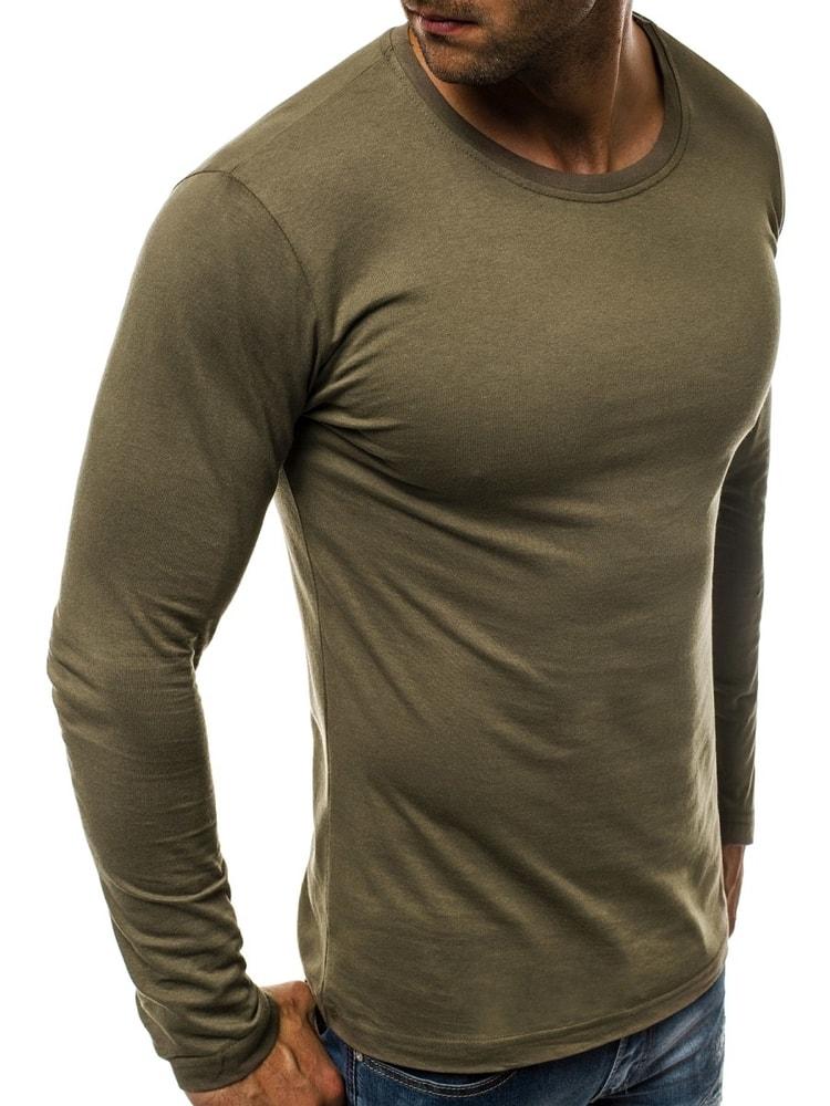 1e823cc6c81d Jednoduché zelené tričko s dlhým rukávom O 1209 - Budchlap.sk
