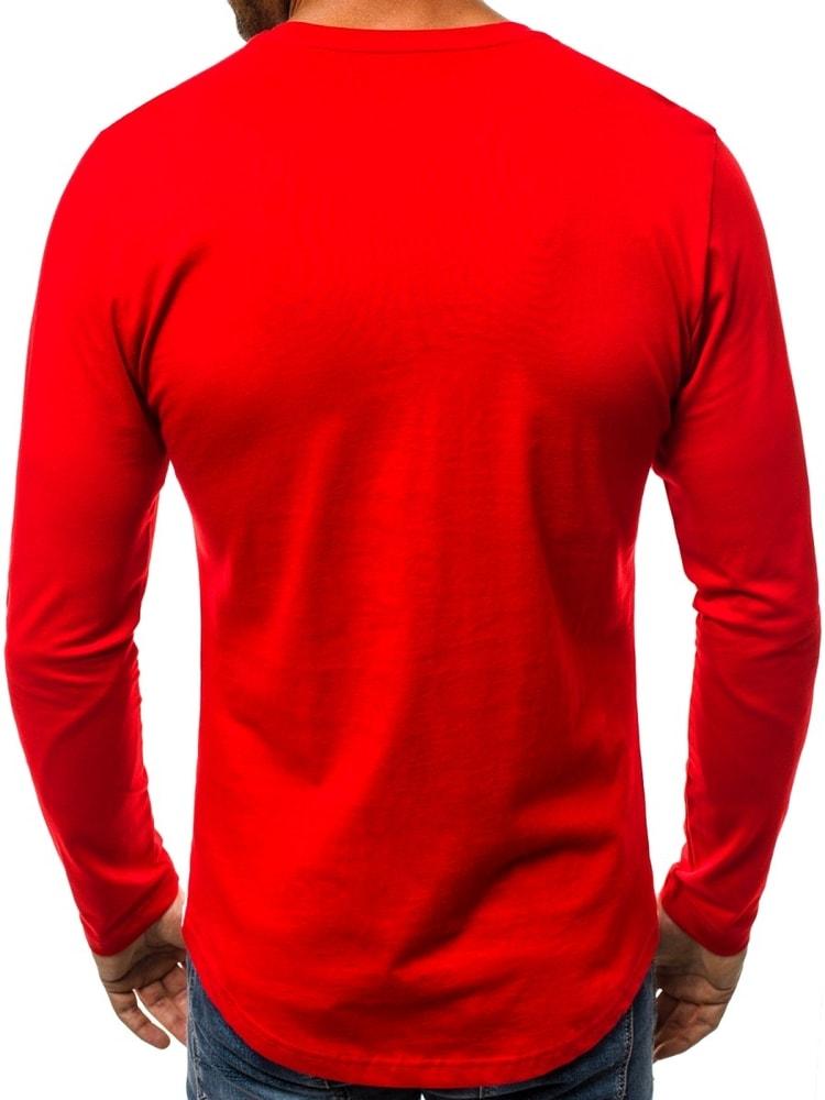 c64c6c5e232f Štýlové tričko s dlhým rukávom červené B 6201 - Budchlap.sk