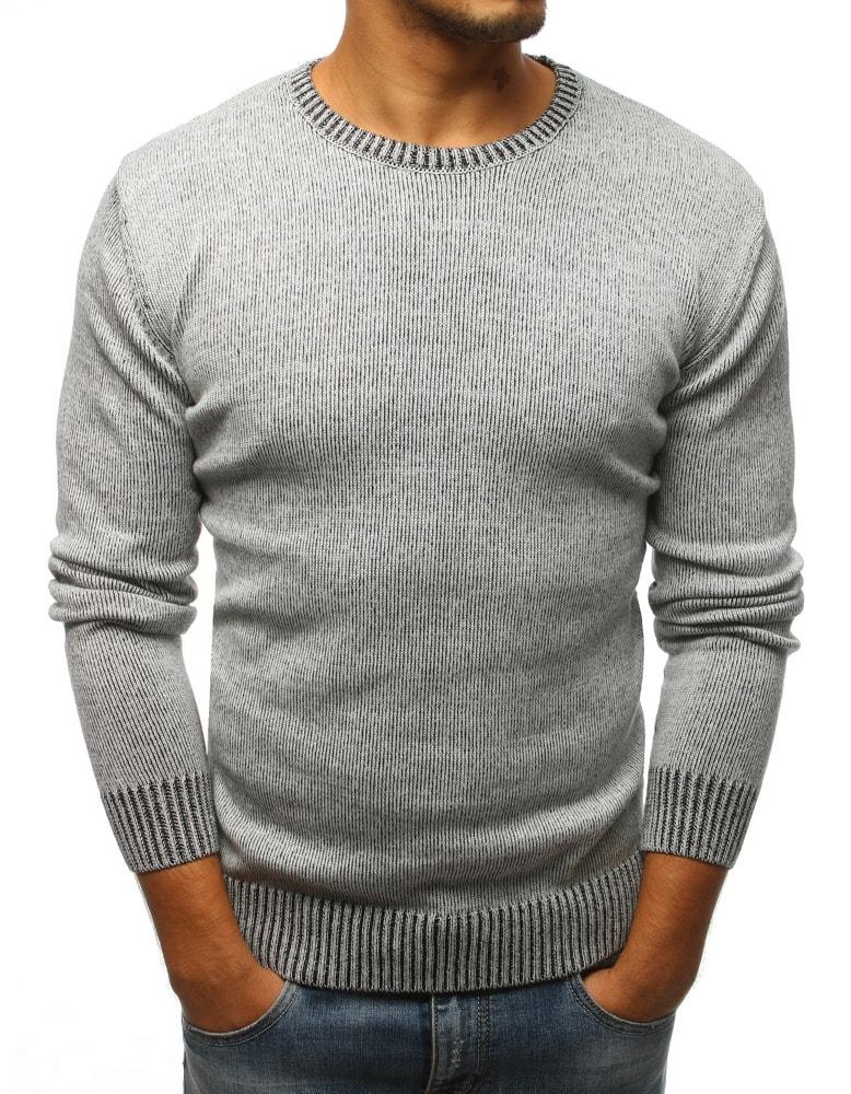 1927798f3996 Šedý sveter v jednoduchom dizajne - Budchlap.sk