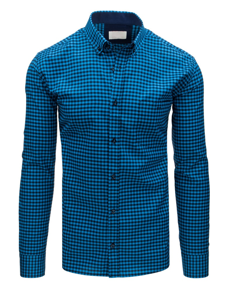 8237a6e837af Modrá kockovaná košeľa - Budchlap.sk