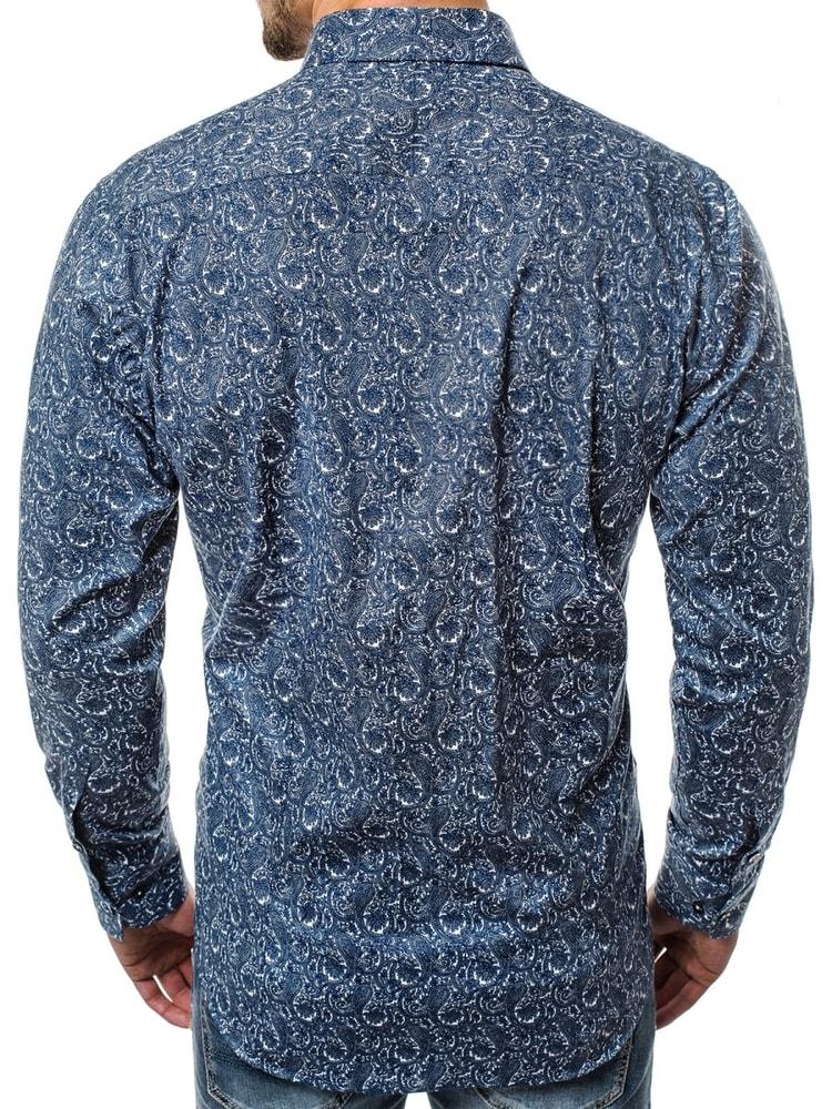124c84c86 Vzorovaná pánska modrá košeľa s dlhým rukávom V/K27 - Budchlap.sk