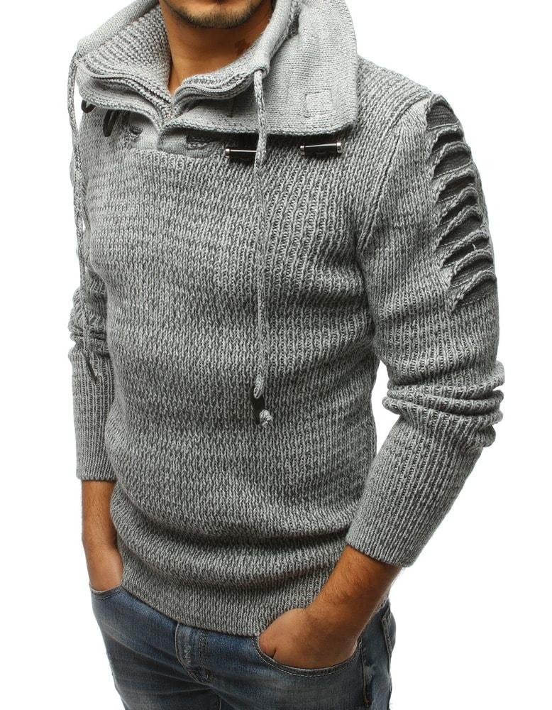 822108682e56 Šedý pohodlný sveter v módnom prevedení - Budchlap.sk