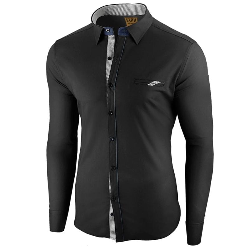 0aaa77ec5709 Štýlová čierna pánska košeľa s dlhým rukávom - Budchlap.sk