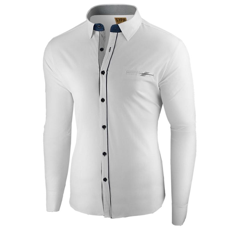 f294d6b9ec42 Elegantná biela pánska košeľa s ozdobným lemom - Budchlap.sk
