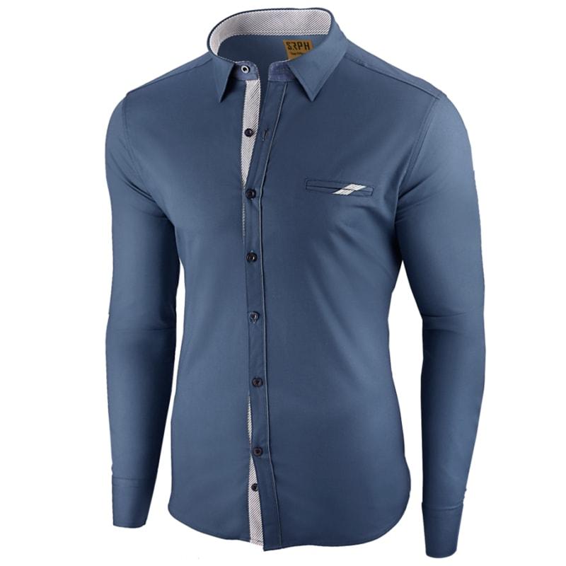 4884fd045d88 Prémiová pánska košeľa modrej farby Elegance De Paris - Budchlap.sk