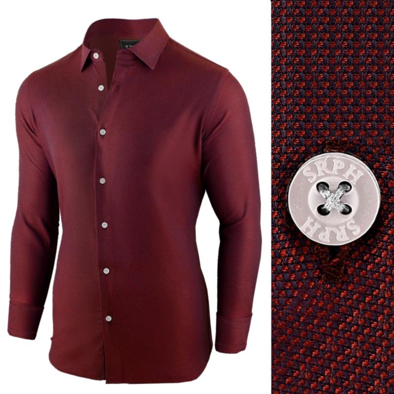 2b146727b Bordová pánska košeľa s dlhým rukávom - Budchlap.sk