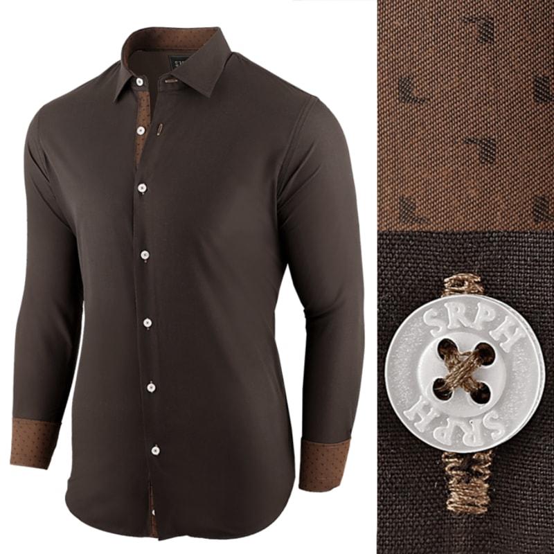 2ffbeca2f032 Štýlová hnedá pánska košeľa s kontrastnými manžetami - Budchlap.sk