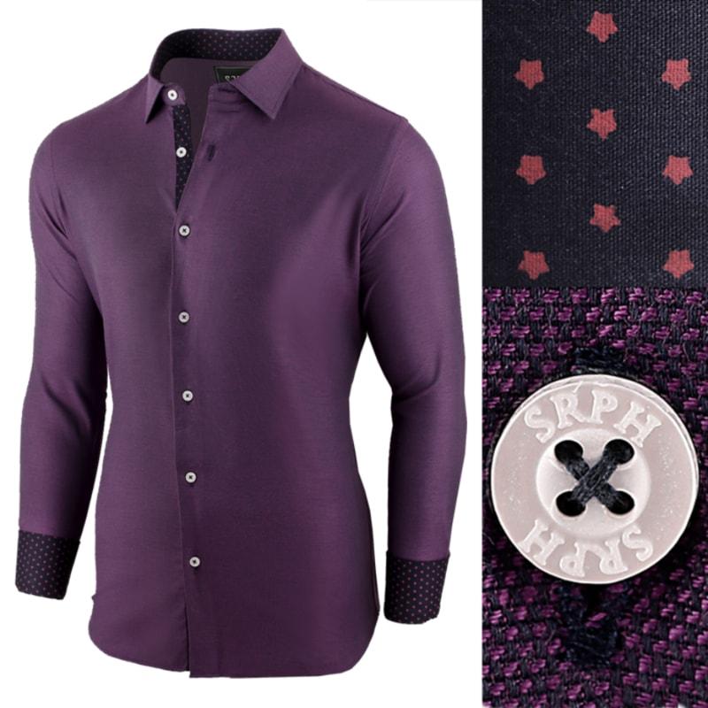 429eae21c398 Fialová pánska košeľa s dlhým rukávom - Budchlap.sk