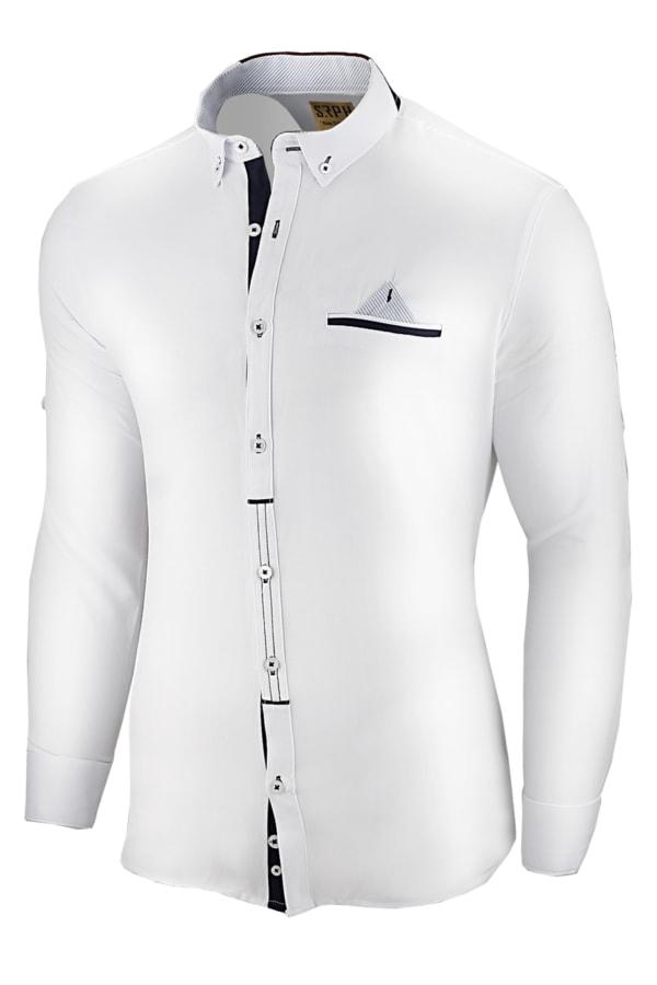 aa05e64dbcf7 Moderná ležérna biela košeľa slim fit strihu - Budchlap.sk