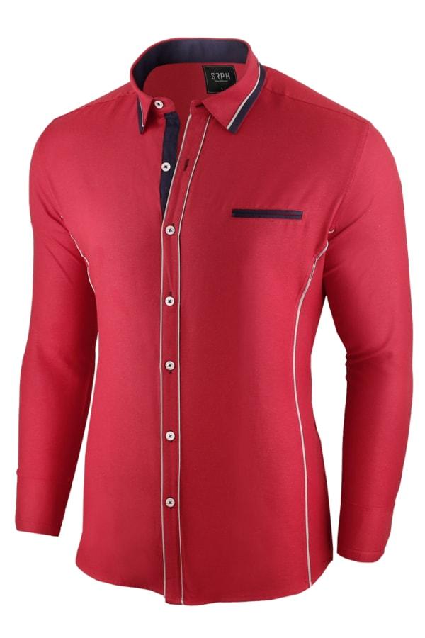 0ebbc0f19675 Červená pánska slim fit košeľa - Budchlap.sk
