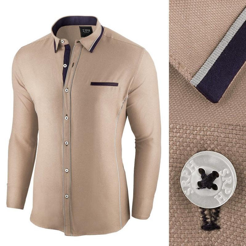 9f5e965f2795 Béžová slim fit pánska košeľa - Budchlap.sk