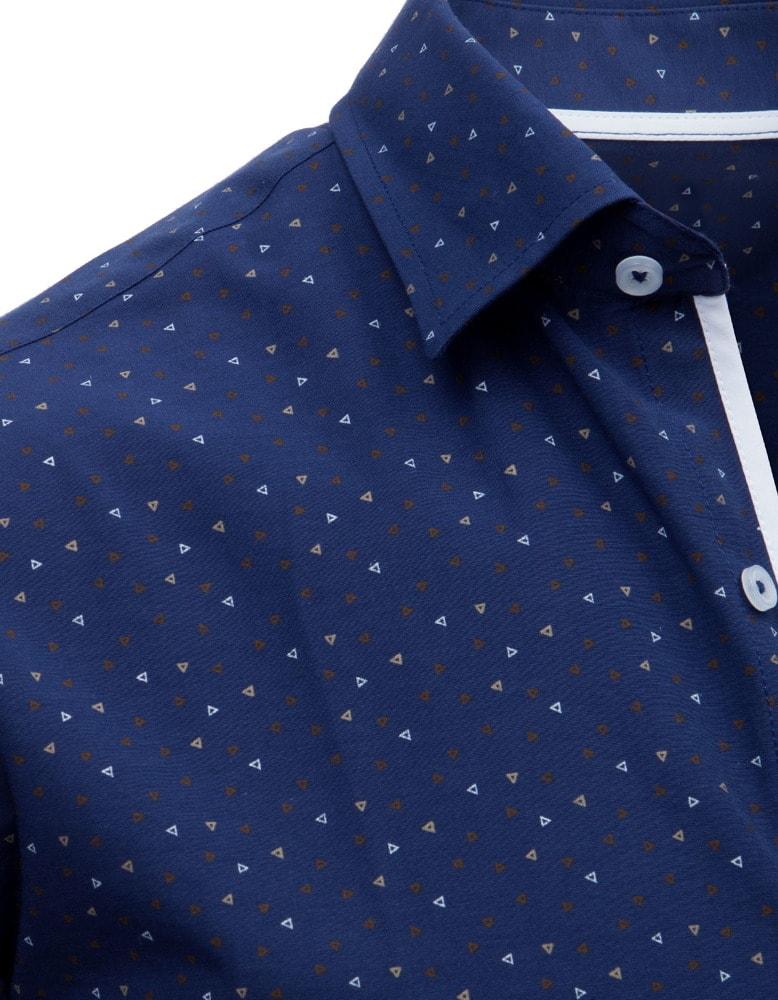 4ec09ec88aaf Modrá SLIM FIT košeľa so vzorom - Budchlap.sk