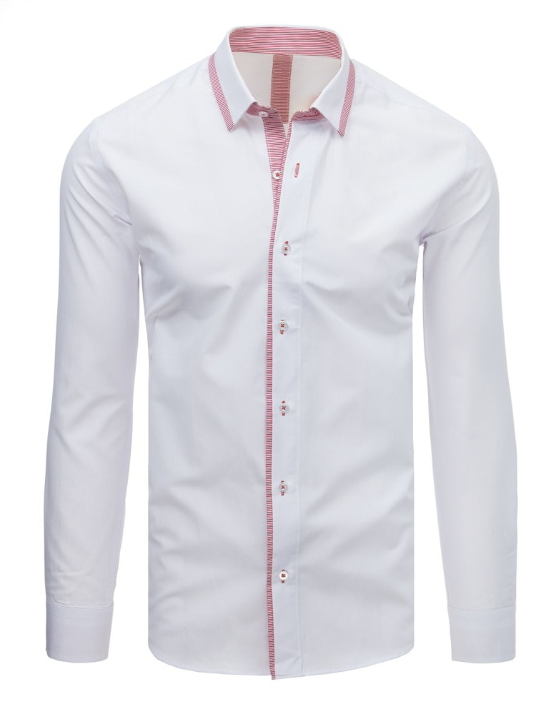 a20ab7b7468d Štýlová biela košeľa s červeným lemom - Budchlap.sk