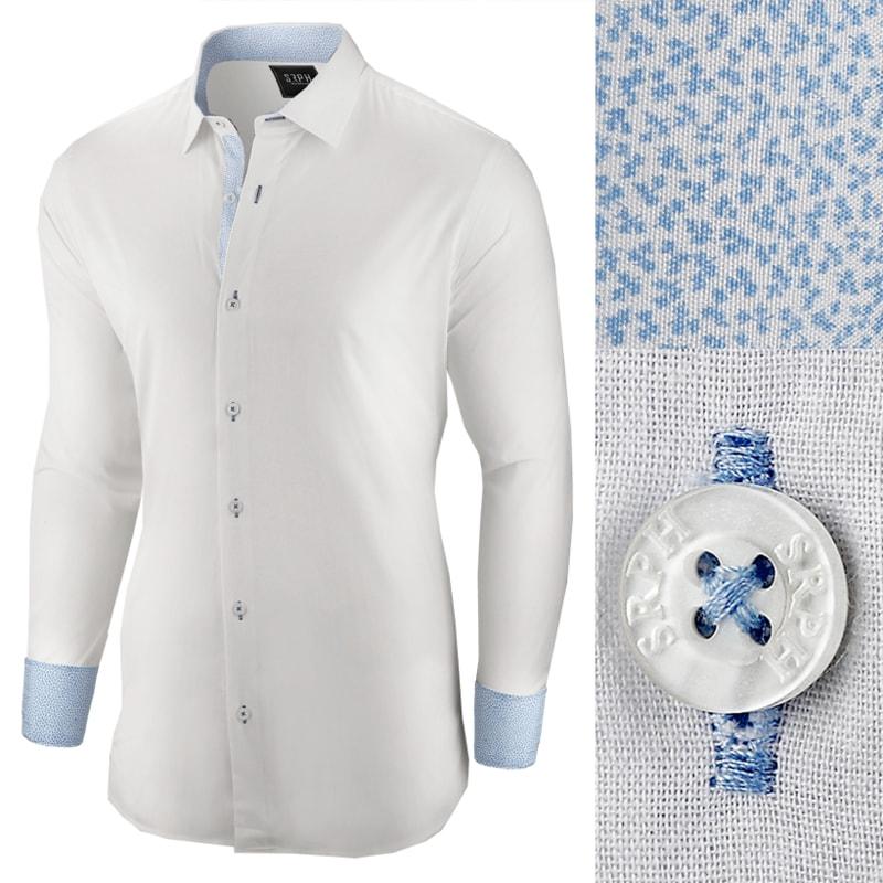 997f3d7f9abc Elegantná biela pánska košeľa so vzorom - Budchlap.sk