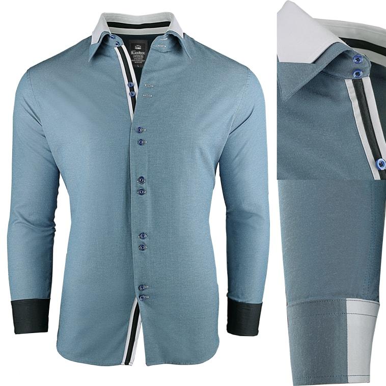b82c5cde4fbb Super slim fit pánska modrá košeľa - Budchlap.sk