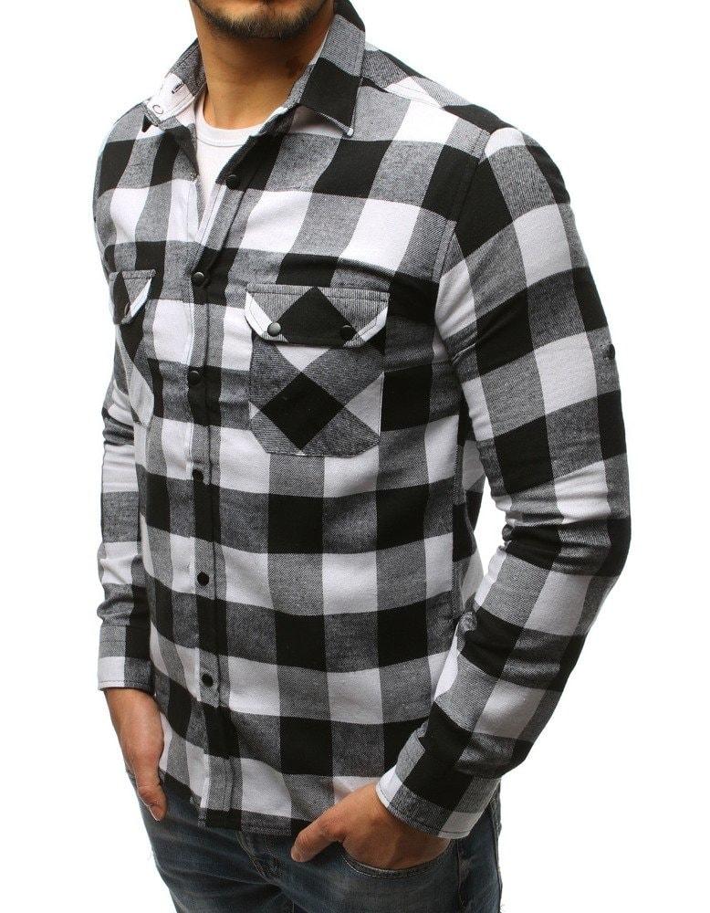 3c41cdb4def3 Bielo-čierna kockovaná košeľa s kapucňou - Budchlap.sk
