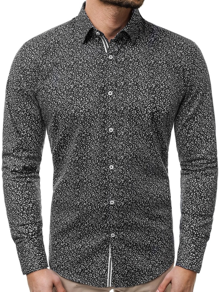 f2e2ce8ea7b7 Kvetinová čierna pánska košeľa V K77 - Budchlap.sk
