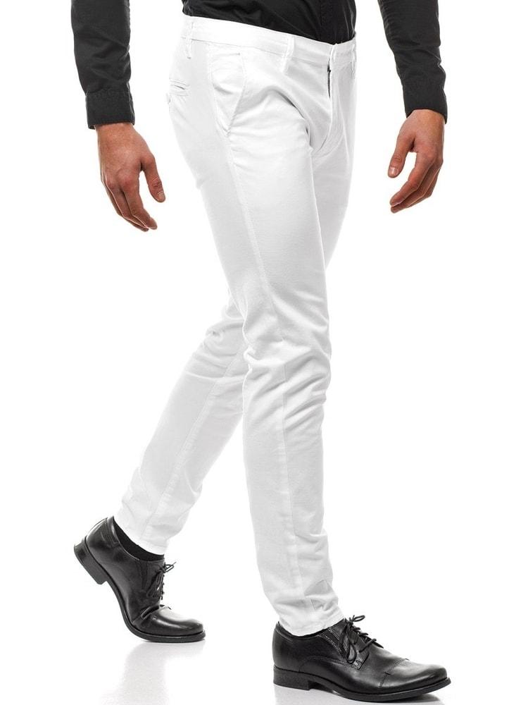 e9322073e236 Elegantné biele chinos nohavice BL SK306 - Budchlap.sk