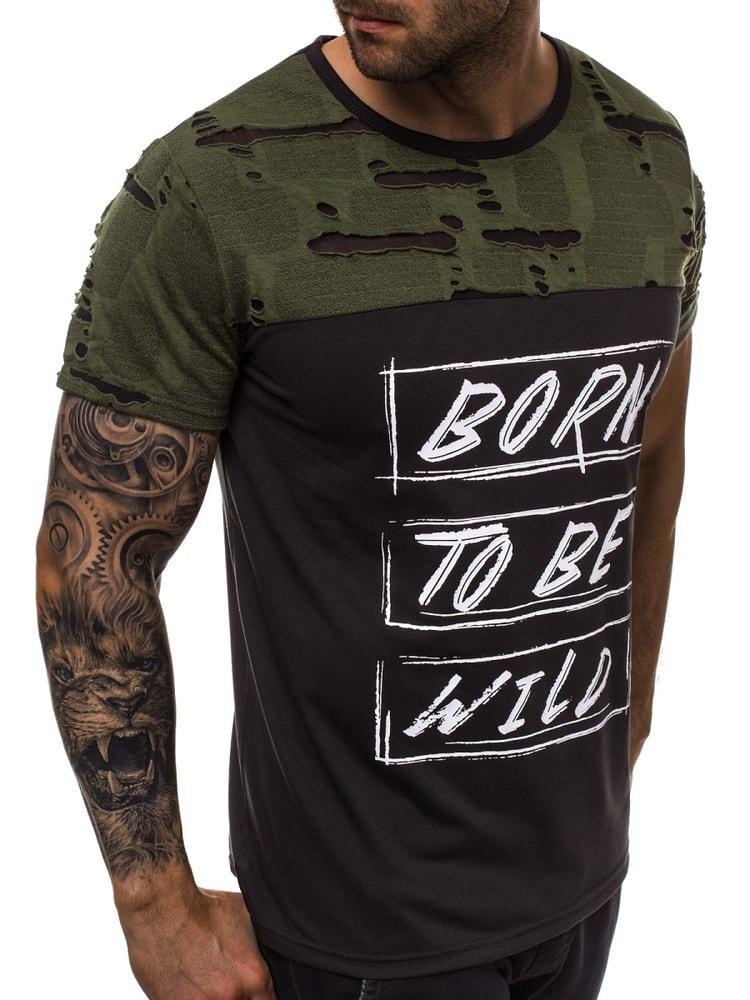5590d081bc45 Potrhané čierno-zelené pánske tričko JS 1858 - Budchlap.sk