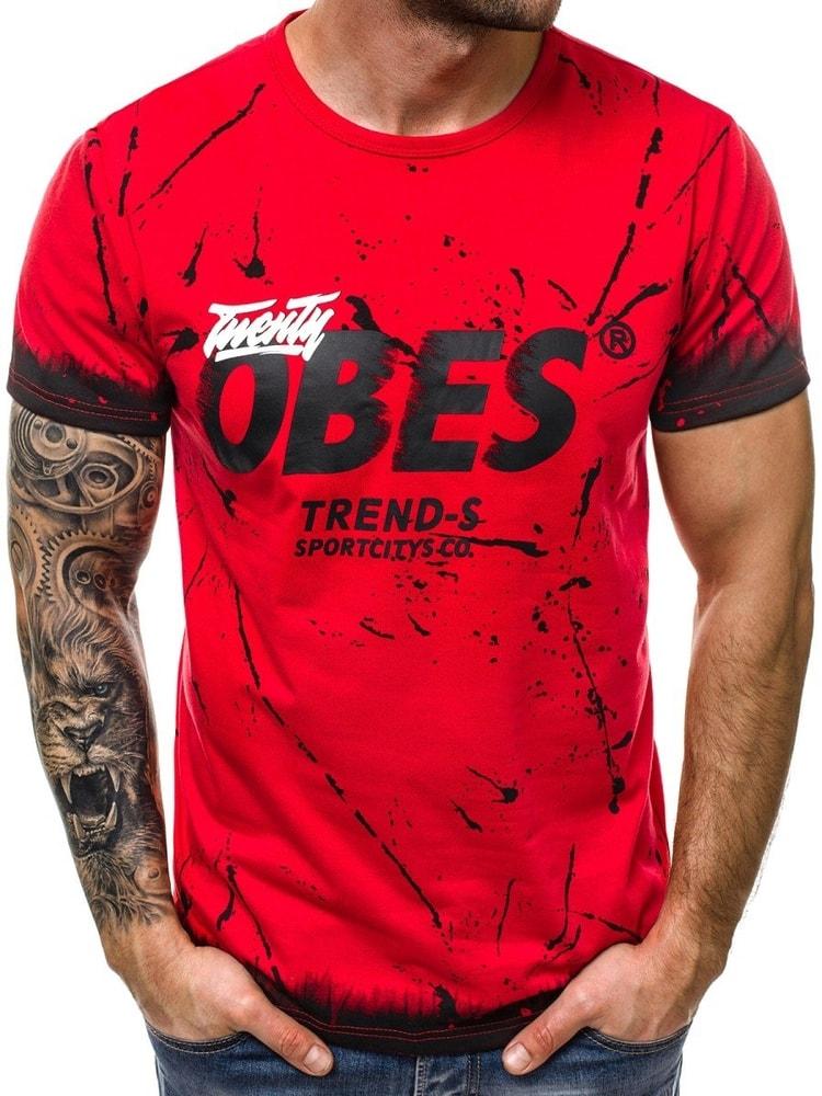 dbb829d6eccd Módne červené tričko s potlačou OBES - Budchlap.sk