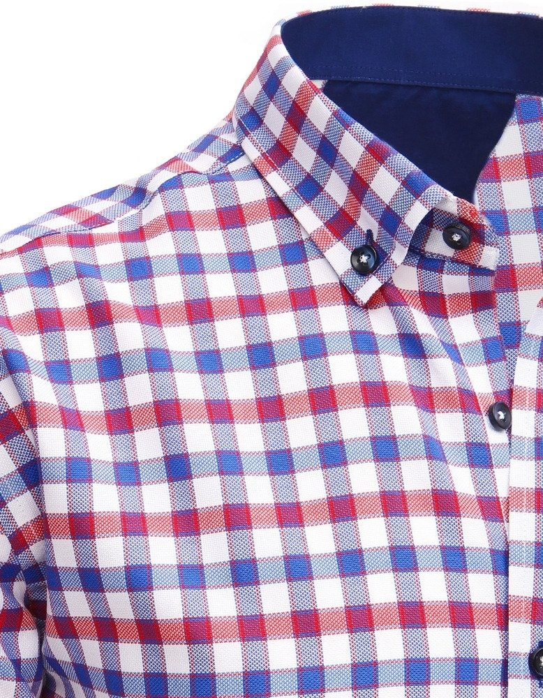 6d0be1966bbc Kockovaná biela košeľa v módnom prevedení - Budchlap.sk