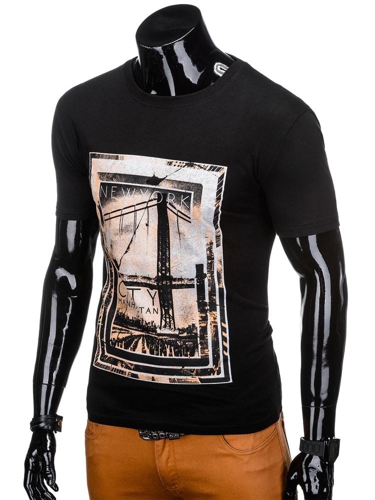 76ba0d9b0 Čierne bavlnené tričko s potlačou s1140 - Budchlap.sk
