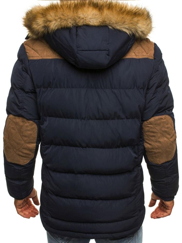 35ea5796d8 Kvalitná zimná bunda s nášivkami a kapucňou v granátovej farbe J.STYLE 3079