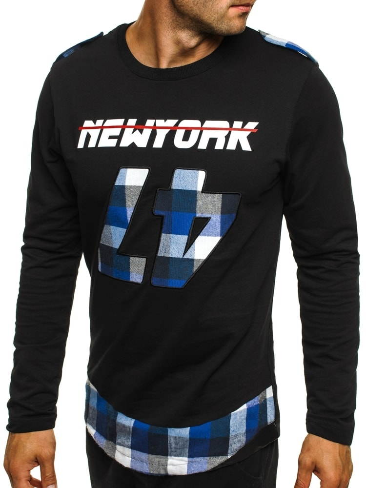 f344418cad13 Čierno-nebeské štýlové tričko NEW YORK ATHLETIC 757 - Budchlap.sk