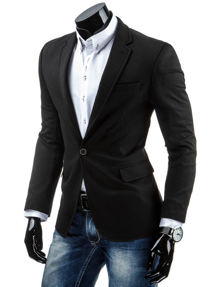 bdf35bcaf8 Jednoduché pánske sako v čiernej farbe slim fit strihu - Budchlap.sk