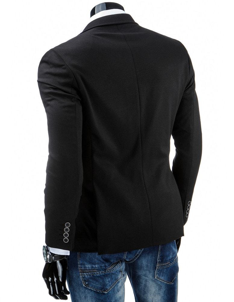 53987d6bf857 Jednoduché pánske sako v čiernej farbe slim fit strihu - Budchlap.sk