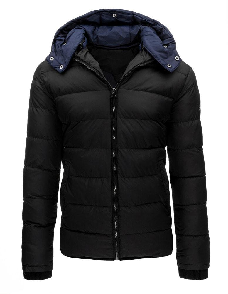 dc25a907c Čierna pánska zimná bunda s dvojitou kapucňou - Budchlap.sk