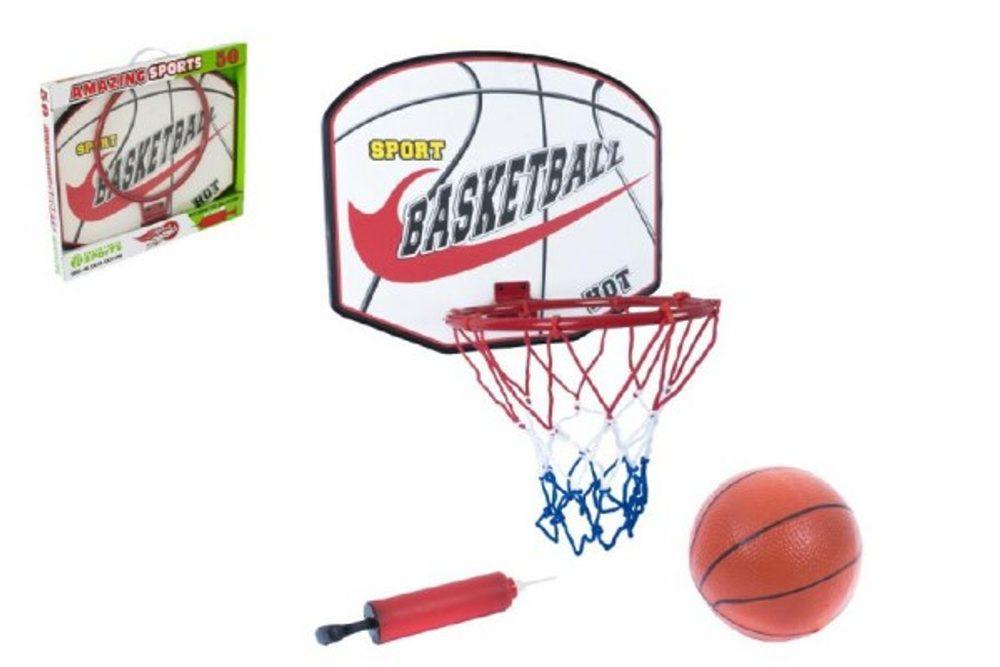 Teddies Basketbalový koš + míč s pumpičkou 49,5x41,5x4cm