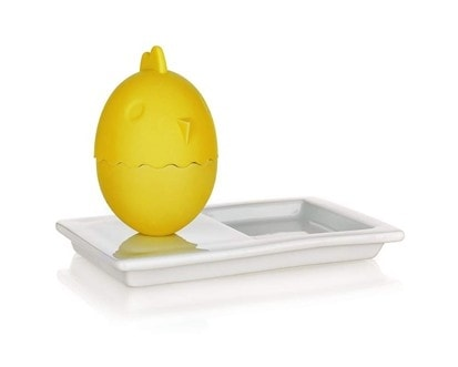 BANQUET Kalíšek na vajíčka s talířkem COLOR PLUS Yellow 13,8 x 8,8 cm, 2 v 1