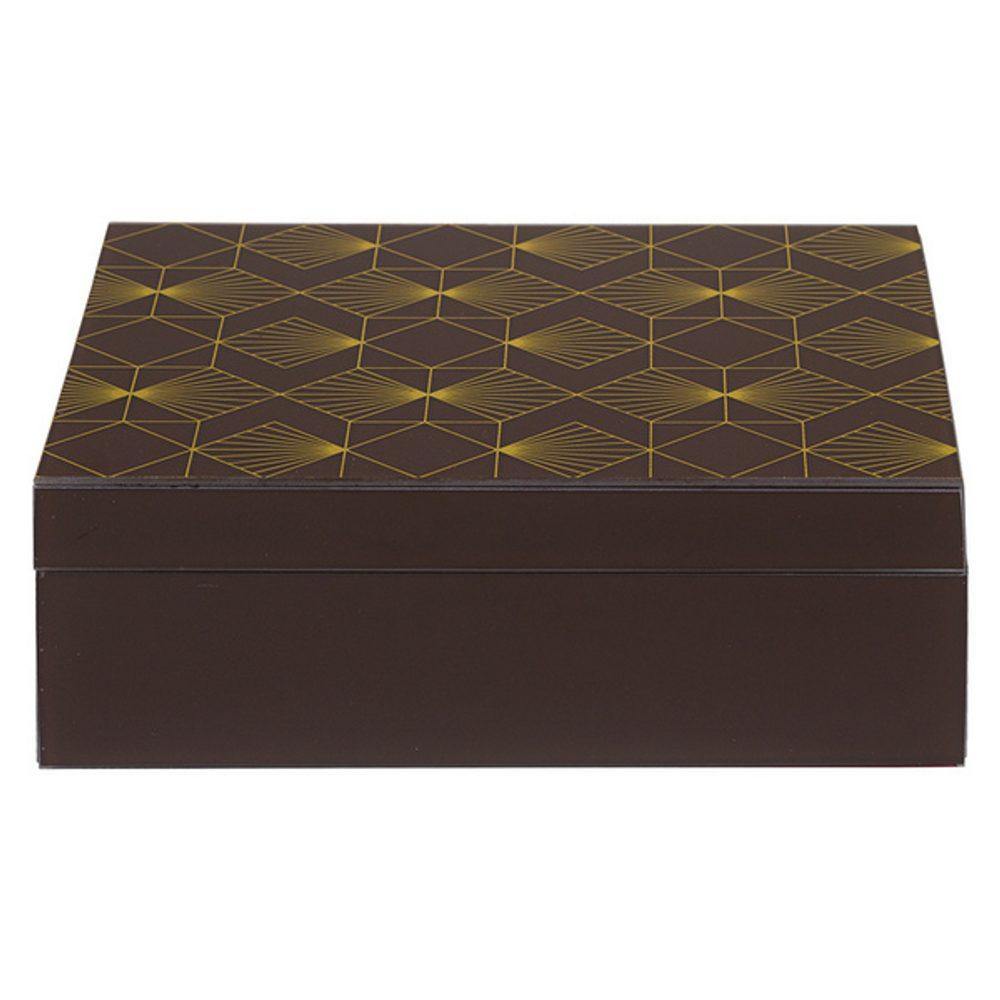 BigBuy Home Ozdobná krabice Mosaz Dřevo (26 X 18 x 9 cm)