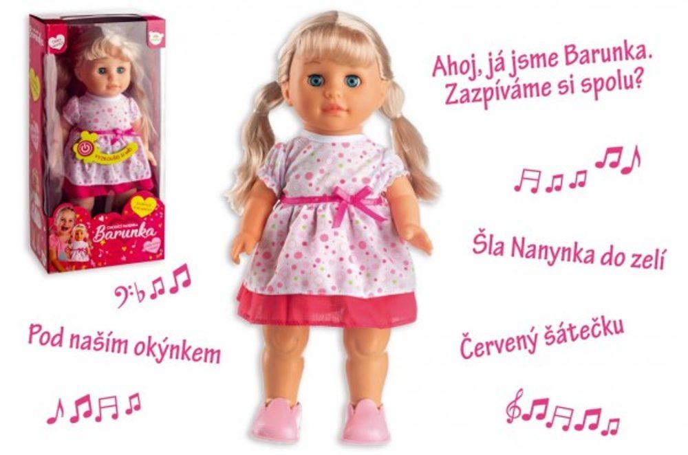 Teddies Panenka Barunka chodící a zpívající plast 42cm na baterie se zvukem v krabici 21x44x11cm