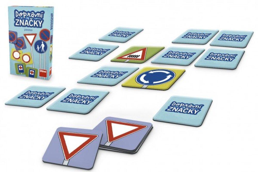 Dino Pexeso Dopravní značky společenská hra 48ks v krabičce 11,5x18x3,5cm