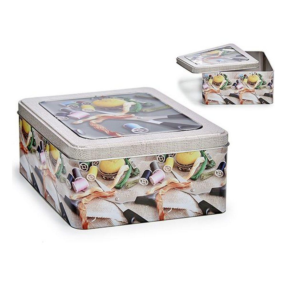 BigBuy Home Krabice s víkem Béžový Plastické Plech (pocínovaný)