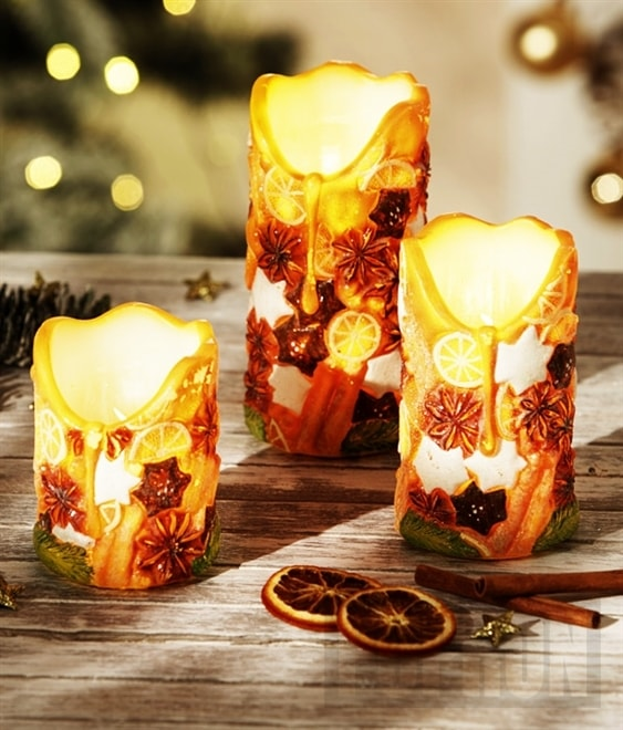"""LED voskové svíčky """"Koření"""", 3 ks"""