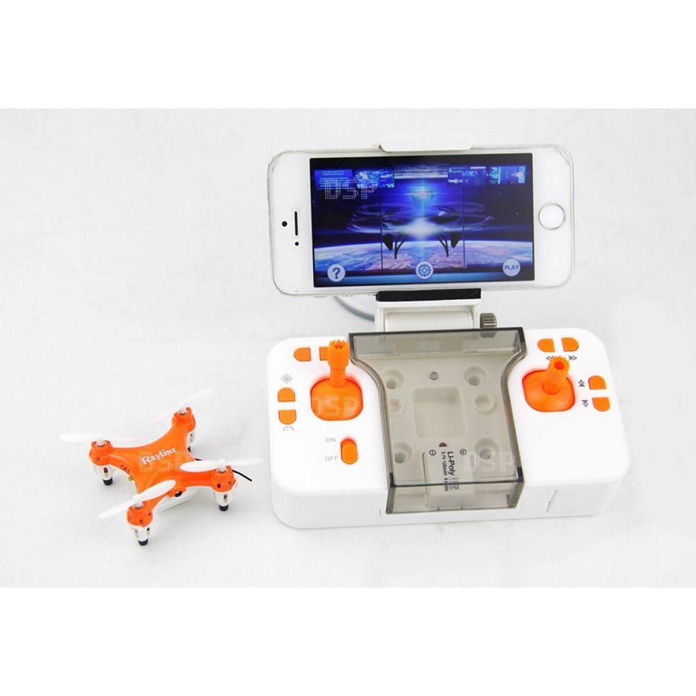 Rayline GmbH Funtom 1W, nejmenší dron s wifi kamerou na světě, BAROMETR AUTO START A PŘISTÁNÍ, oranžový
