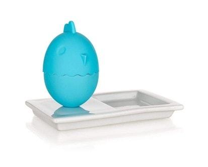 BANQUET Kalíšek na vajíčka s talířkem COLOR PLUS Blue 13,8 x 8,8 cm, 2 v 1