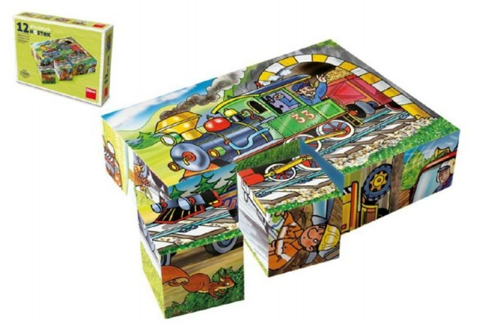 TOPA Kostky kubus Mašinka dřevo 12ks v krabičce 16x12x4cm