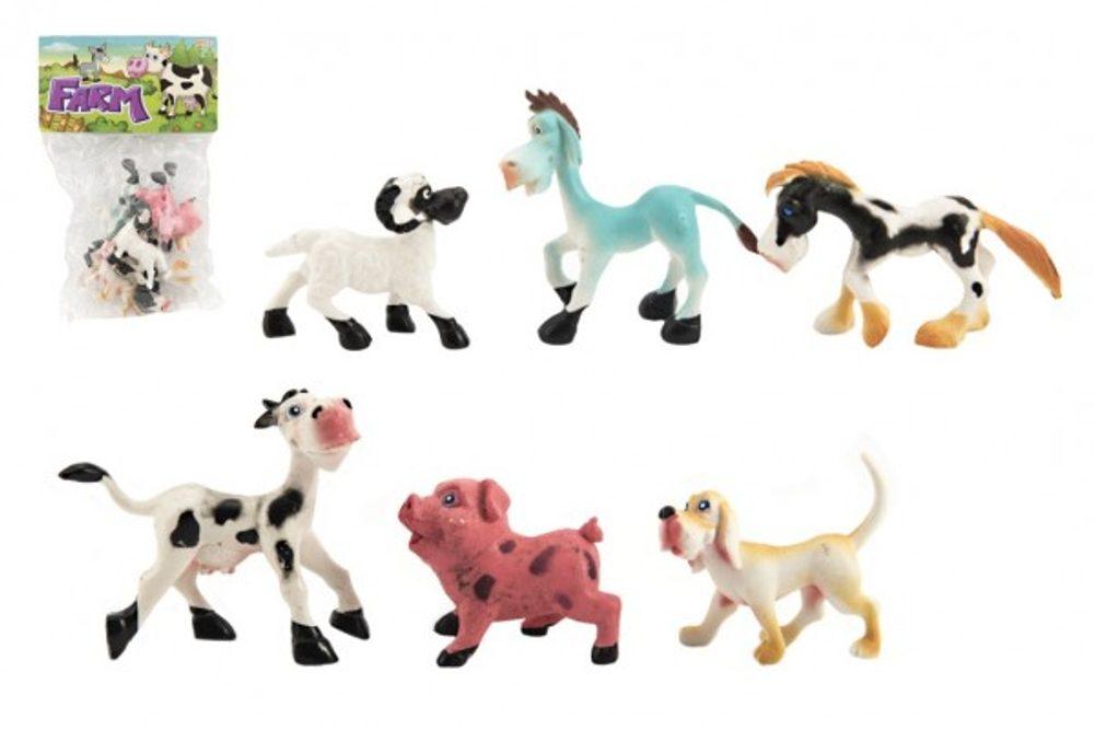 Teddies Zvířátka veselá domácí farma plast 8-10cm 6ks v sáčku