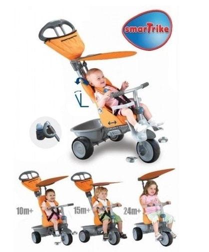 Smart-Trike SMART TRIKE tříkolka 191 Recliner 4v1 Oranžovo-šedá