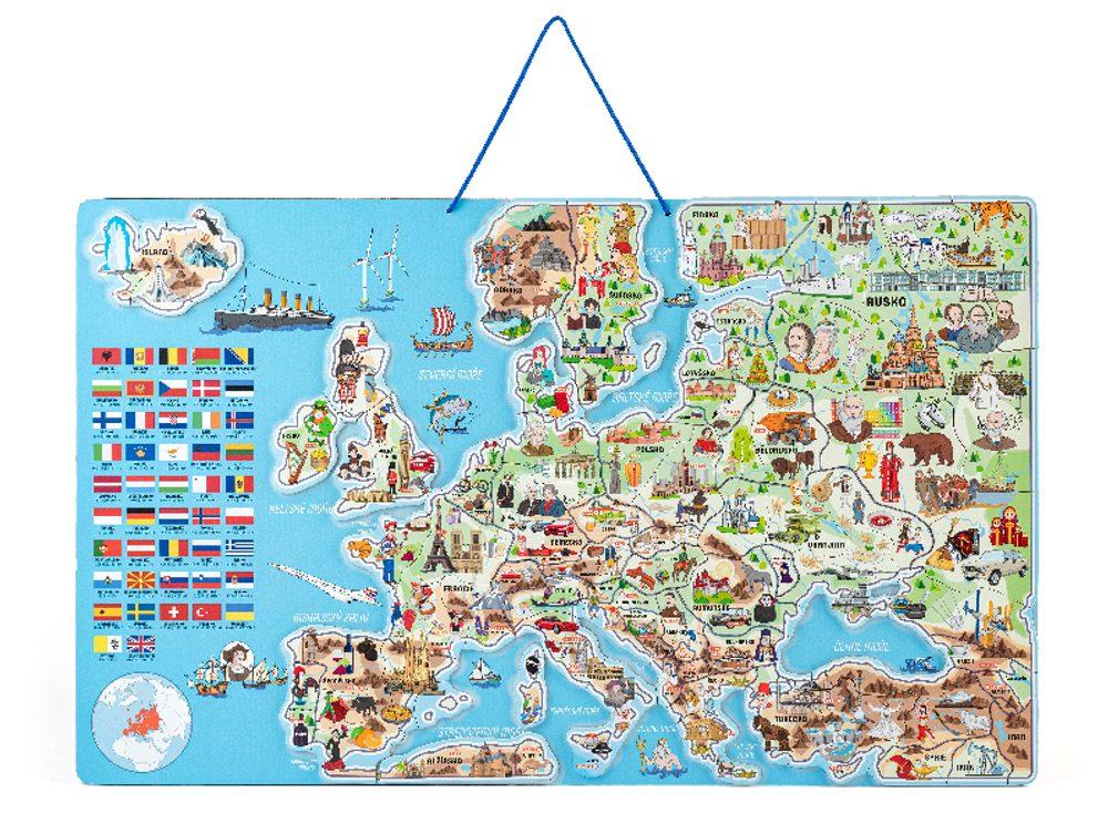 Olymptoy Magnetická mapa EVROPY s hrou 3 v 1
