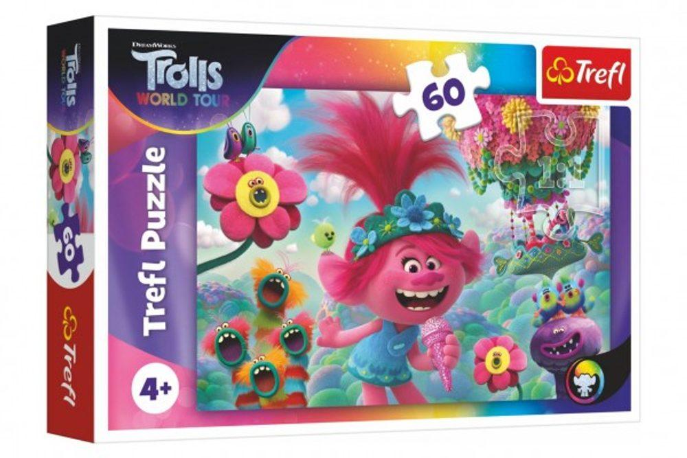 Trefl Puzzle V hudebním světě Trollů 33x22cm 60 dílků v krabici 21x14x4cm