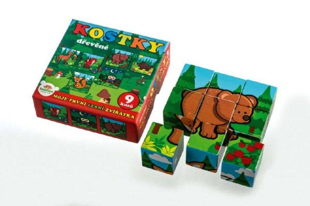 Teddies Kostky kubus dřevěné Moje první lesní zvířátka dřevo 9x9x3cm 9ks v krab.11x11x6cm od 12 měsíců MPZ