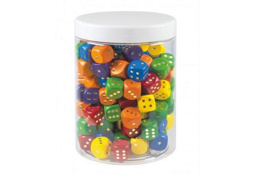 Detoa Hrací kostky barevné dřevo společenská hra 16mm 150 ks v plastové dóze 10x14cm