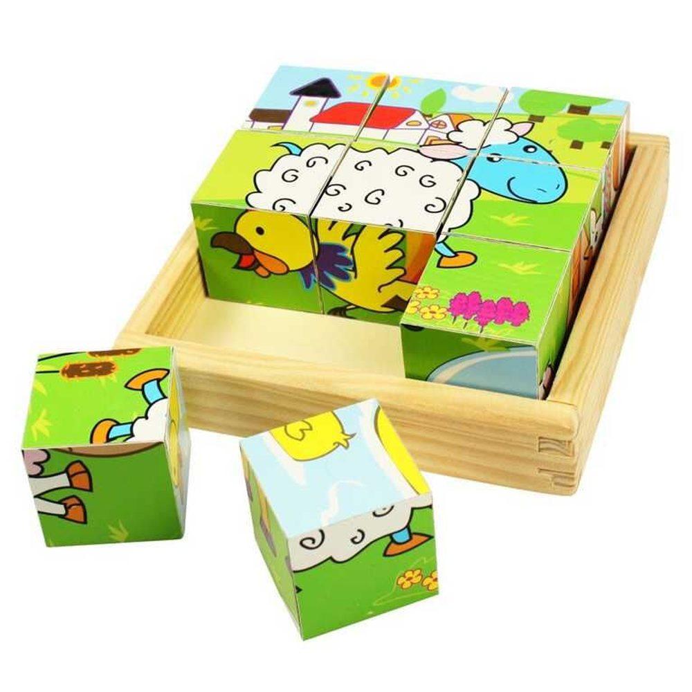 RAPPA Bigjigs Toys Obrázkové kostky kubusy Zvířátka 9 kostek