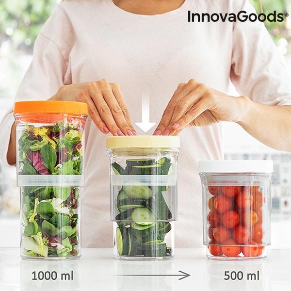 InnovaGoods Nastavitelné a Hermeticky Uzavíratelné Nádoby do Kuchyně InnovaGoods (3 kusy)